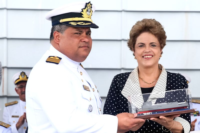 SALVADOR, April 6, 2016 - Image provided by the Brazilian Presidency shows Brazilian President Dilma Rousseff (R) taking part in a ceremony to present a new vessel of the Brazilian Navy, in Salvador, ...