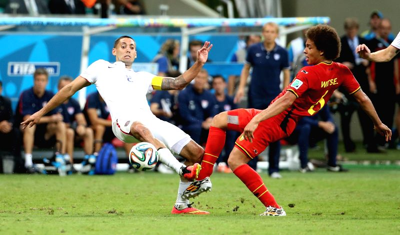 Belgium's Axel Witsel vies with Clint Dempsey of the U.S. during the extra time of a Round of 16 match between Belgium and the U.S. of 2014 FIFA World Cup at the ...