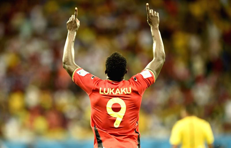 Belgium's Romelu Lukaku celebrates the goal during the extra time of a Round of 16 match between Belgium and the U.S. of 2014 FIFA World Cup at the Arena Fonte Nova