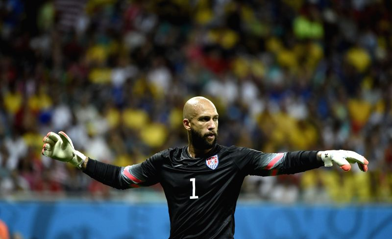 Goalkeeper of the U.S. Tim Howard reacts during a Round of 16 match between Belgium and the U.S. of 2014 FIFA World Cup at the Arena Fonte Nova Stadium in Salvador,