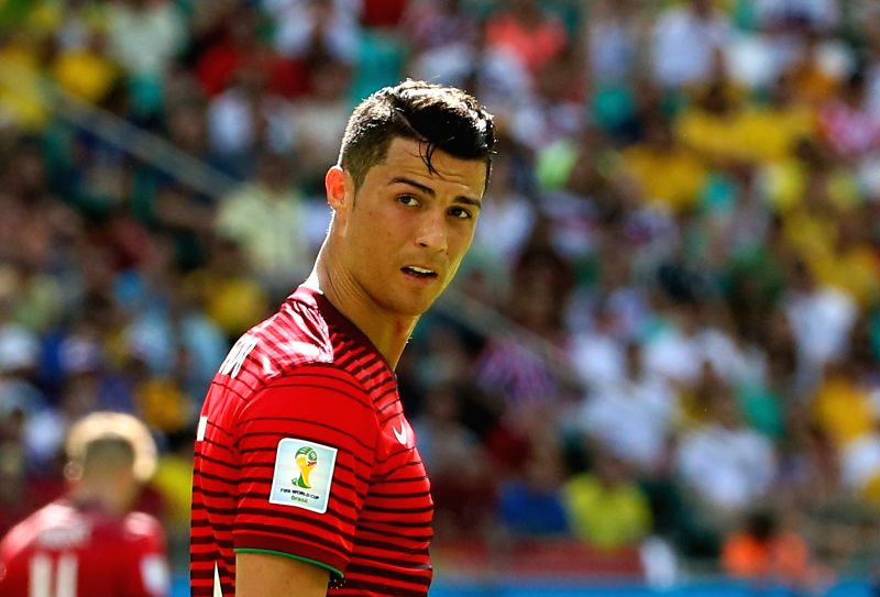 Portugal's Cristiano Ronaldo reacts during a Group G match between Germany and Portugal of 2014 FIFA World Cup at the Arena Fonte Nova Stadium in Salvador, Brazil,