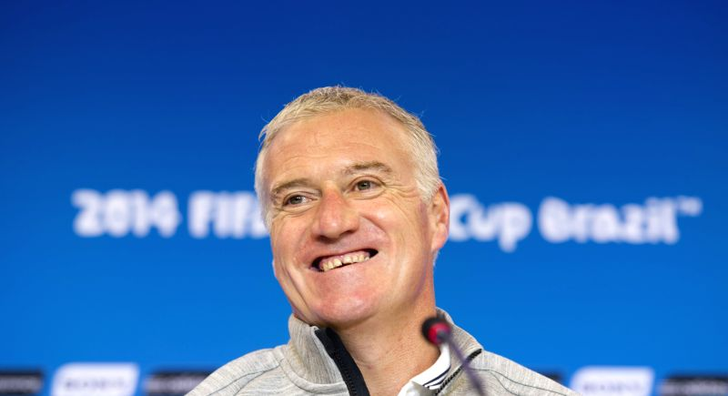 France's coach Didier Deschamps attends a press conference ahead of a Group E match between Switzerland and France of 2014 FIFA World Cup at the Arena Fonte Nova ..