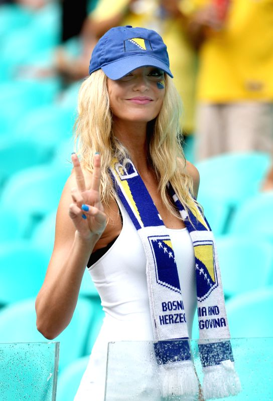 A Bosnia And Herzegovina's fan poses before a Group F match between Bosnia And Herzegovina and Iran of 2014 FIFA World Cup at the Arena Fonte Nova Stadium in ...