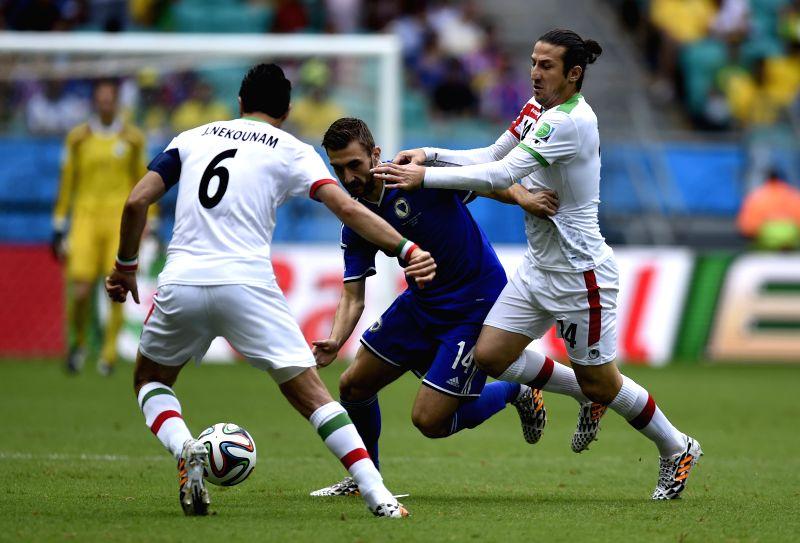 Bosnia And Herzegovina's Tino Susic (C) vies with Iran's Javad Nekounam (L) during a Group F match between Bosnia And Herzegovina and Iran of 2014 FIFA World Cup ..