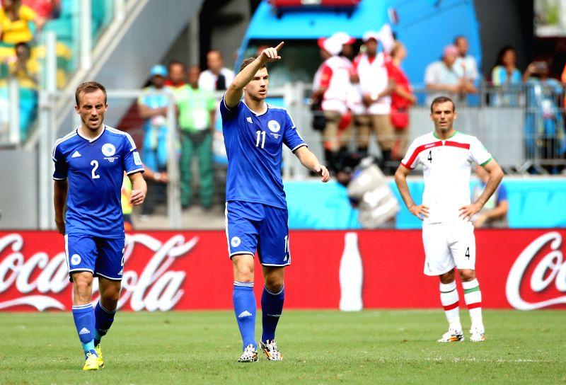 Bosnia And Herzegovina's Edin Dzeko (C) celebrates the goal during a Group F match between Bosnia And Herzegovina and Iran of 2014 FIFA World Cup at the Arena ...