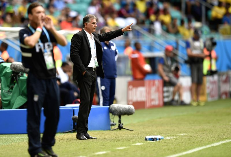 Iran's coach Carlos Queiroz gestures during a Group F match between Bosnia And Herzegovina and Iran of 2014 FIFA World Cup at the Arena Fonte Nova Stadium in ...