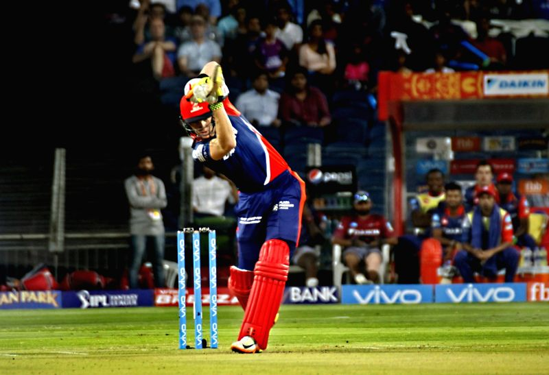 Sam Billings of Delhi Daredevils in action during an IPL 2017 match between Rising Pune Supergiant and Delhi Daredevils at Maharashtra Cricket Association Stadium in Pune on April 11, 2017.