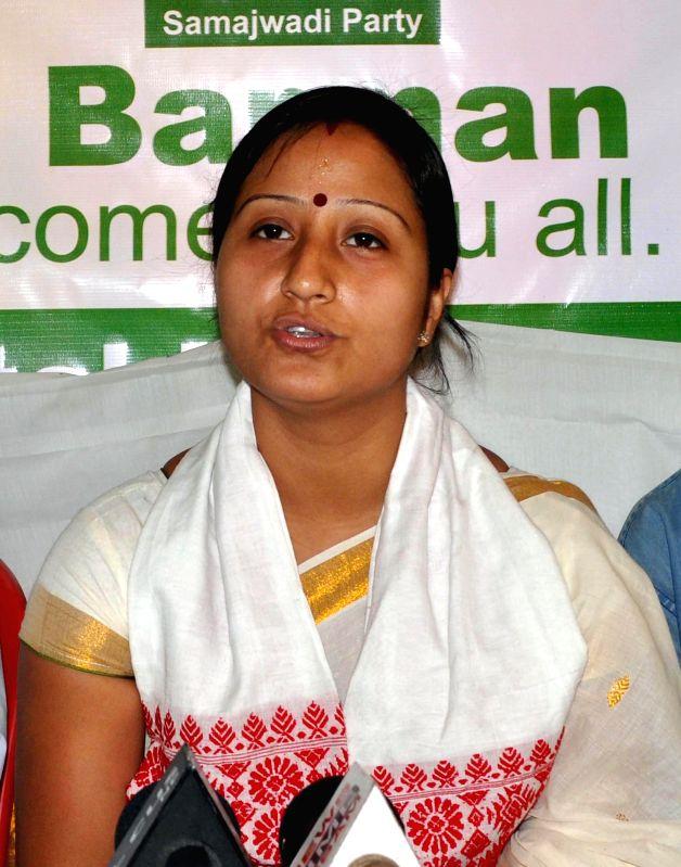 Samajwadi Party candidate for 2014 Lok Sabha Election from Guwahati, Bandana Barman Baruah during a press conference in Guwahati on April 13, 2014.