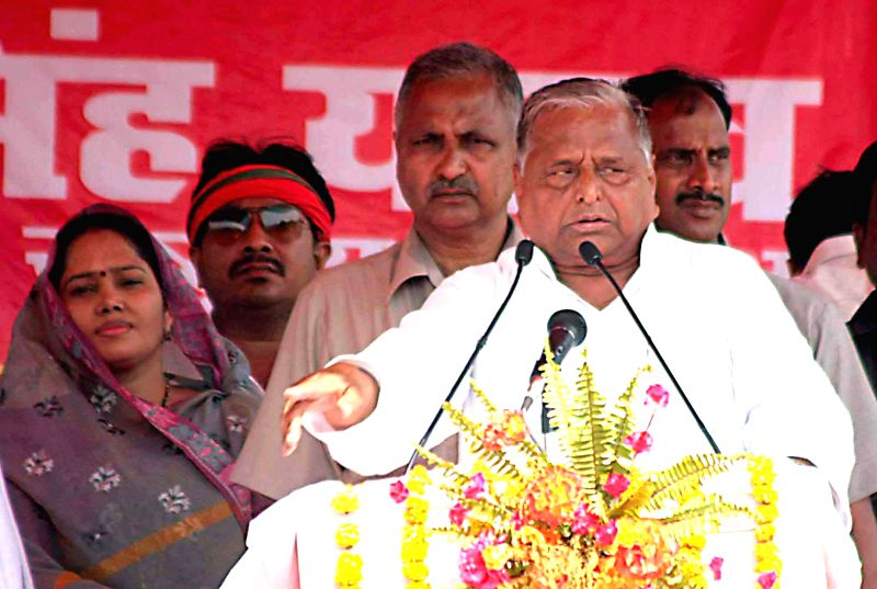 Samajwadi Party chief, Mulayam Singh Yadav addresses a public meeting at K. P. College ground in Allahabad on May 3, 2014.