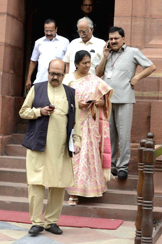 Samajwadi Party leader Amar Singh at Parliament in New Delhi, on July 28, 2016. - Amar Singh
