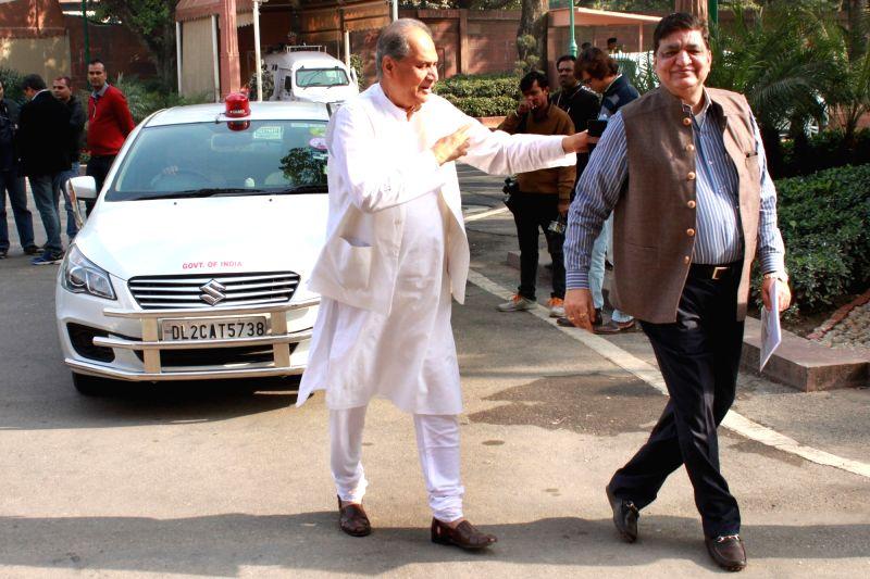 Samajwadi Party leader Naresh Agrawal and Bajaj Auto chairman Rahul Bajaj at the Parliament House in New Delhi, on Dec 8, 2015.