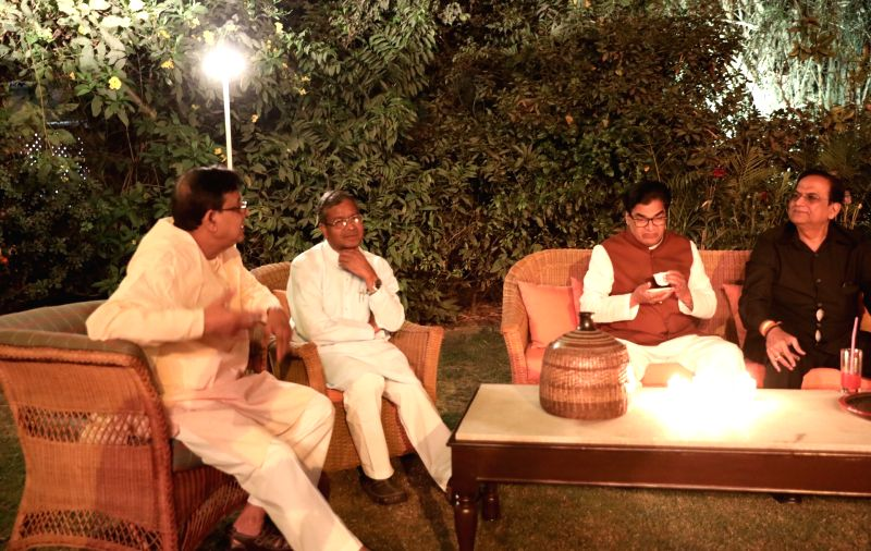 Samajwadi Party leader Ram Gopal Yadav, BSP leader Satish Chandra Misra and Jharkhand Vikas Morcha-Prajatantrik's Babulal Marandi during a dinner hosted by UPA Chairperson Sonia Gandhi at ... - Gopal Yadav and Sonia Gandhi
