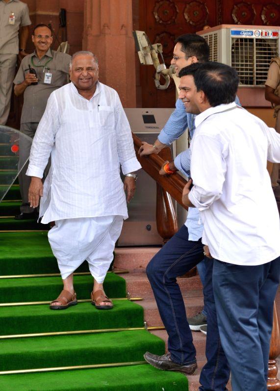 Samajwadi Party MP Mulayam Singh Yadav arrives at Parliament, in New Delhi on July 18, 2018. - Mulayam Singh Yadav