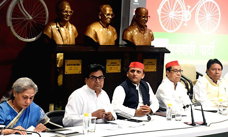 Samajwadi Party president Akhilesh Yadav along with party leaders Ram Gopal Yadav, Jaya Bachchan and others during party's national executive meeting in Lucknow on July 28, 2018. - Akhilesh Yadav, Gopal Yadav and Jaya Bachchan