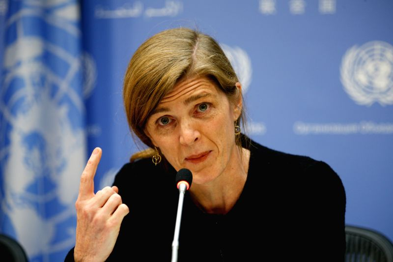 Samantha Power, permanent U.S. representative to United Nations and president of the UN Security Council of December, speaks to journalists at the UN headquarters ...