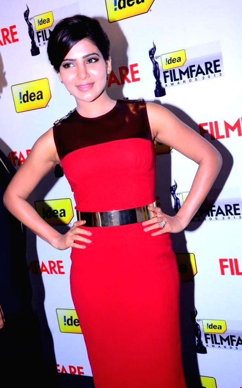 Samantha Prabhu at the `61st Idea Filmfare Awards 2013` (SOUTH) Press Conferenece at Taj Krishna in Hyderabad.