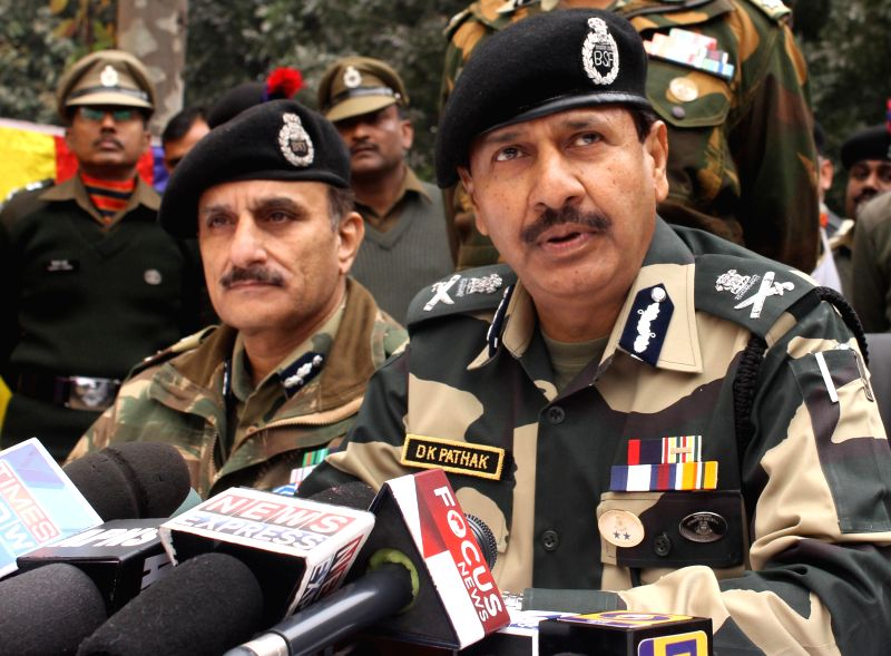 BSF Director General D.K. Pathak addresses press during his visit to the border areas in Samba district of Jammu and Kashmir on Jan 6, 2015.