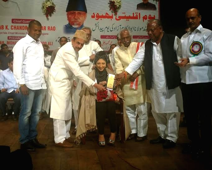 Sameera Aziz being presented the award by Union Minister of State for Labour Bandaru Dattatreya and Telangana's Deputy Chief Minister Mohammed Mehmood Ali - Mohammed Mehmood Ali