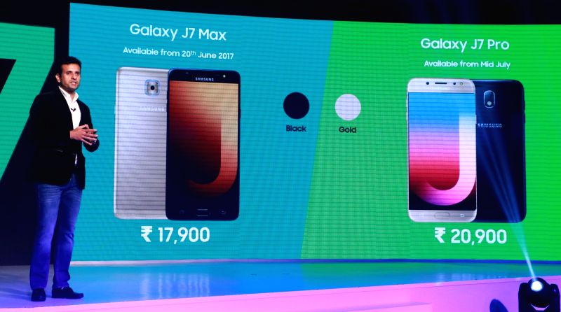 Samsung India Director (Mobile Business) Sumit Walia at the launch of Samsung Galaxy J7 Max and Galaxy J7 Pro in New Delhi, on June 14, 2017.