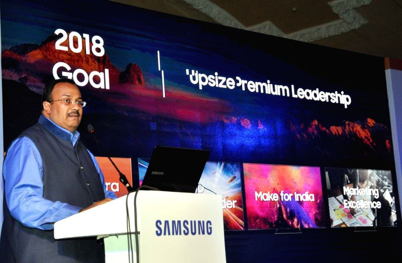 Samsung India Senior Vice President (Consumer Electronics Business) Raju Pullan addresses during a press conference on Television Technology, in Kolkata on June 14, 2018.
