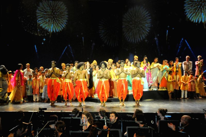 Samudra Group performs `The Fakir of Banaras` on the 10th anniversary celebrations of Neemrana Music Foundation at Jawaharlal Nehru Stadium in New Delhi, on Dec 6, 2014.