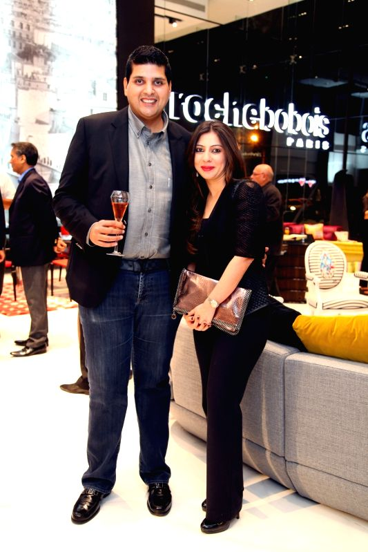 Samvit Tara, Managing Director, Roche Bobois India with wife Alesha Tara during Roche Bobois store launch in Bangalore on Nov 28, 2015.