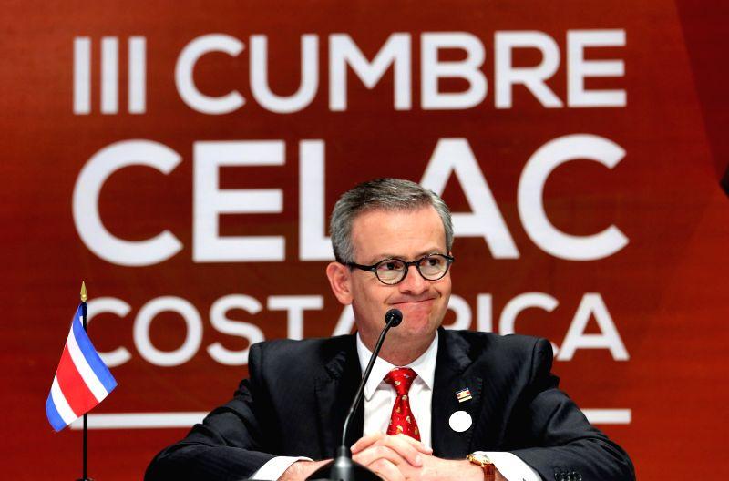 Costa Rica's Foreign Minister Manuel Gonzalez attends a press conference on the sidelines of the 3rd Summit of the Community of Latin American and ... - Manuel Gonzalez
