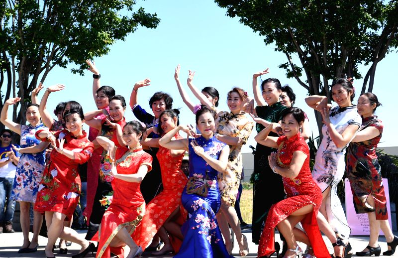 SAN FRANCISCO, June 9, 2018 - Chinese students dance during the international day event at San Mateo Adult school, California, the United States, on June 8, 2018. Students from nearly 20 countries ...