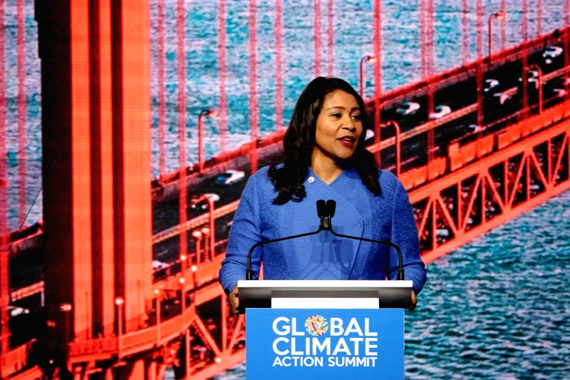 SAN FRANCISCO, Sept. 14, 2018 (Xinhua) -- San Francisco Mayor London Breed speaks at the opening ceremony of the 2018 Global Climate Action Summit (GCAS) held in San Francisco, U.S., Sept. 13, 2018. The Global Climate Action Summit, which brings dele
