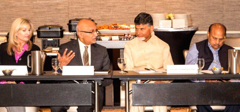 San Francisco (US): Andhra Pradesh Chief Minister N. Chandrababu Naidu addresses during a programme organised by KPMG at San Francisco, US. - N. Chandrababu Naidu