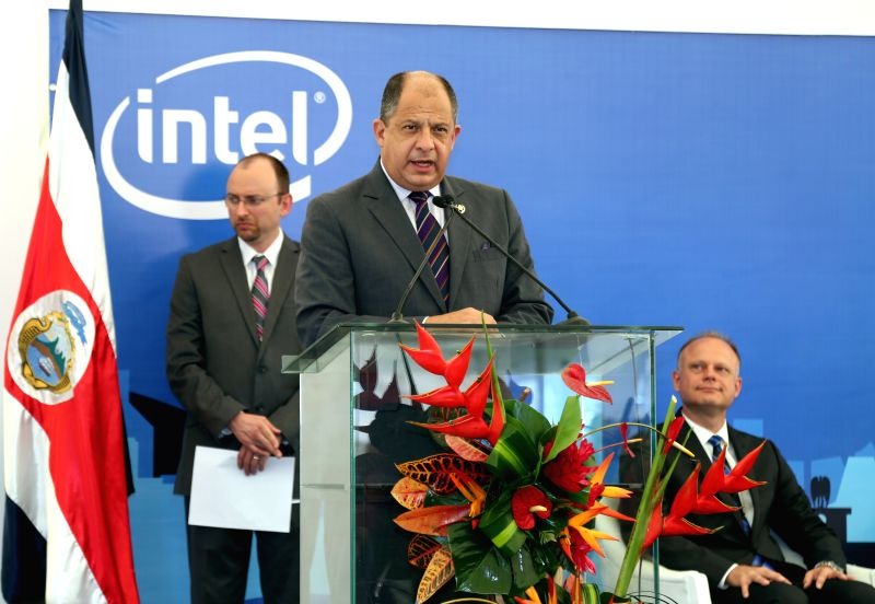 Costa Rican President Luis Guillermo Solis addresses the inauguration of the Mega Laboratory of Intel, in Bareal de Heredia, 15 kilometers from San Jose, capital ..