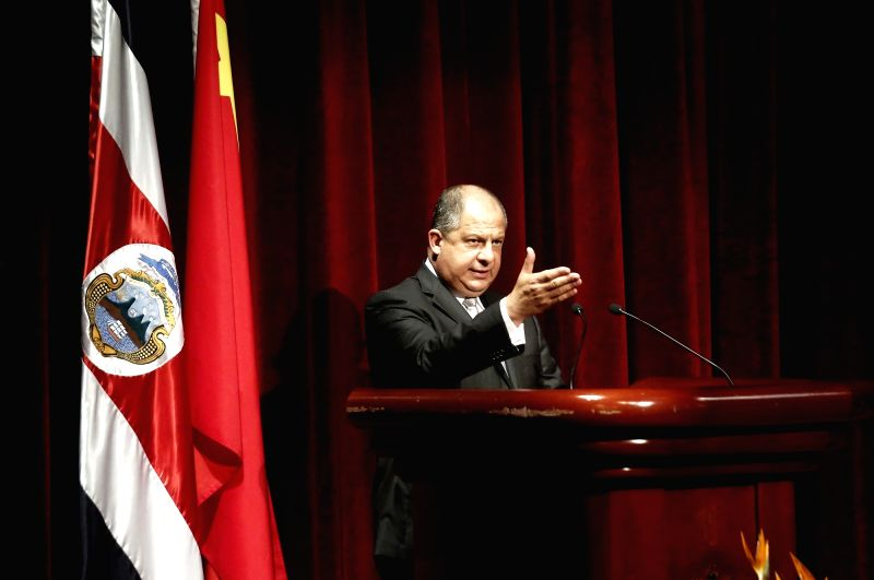 SAN JOSE, June 9, 2017 - Costa Rican President Luis Guillermo Solis delivers a speech during a concert celebrating the 10th anniversary of the establishment of diplomatic ties between China and Costa ...