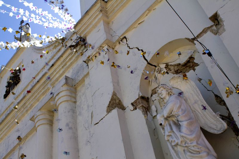Facade of a building is damaged by an earthquake, in San Pedro Sacatepequez, Guatemala, on July 7, 2014. At least one person was killed when an ...