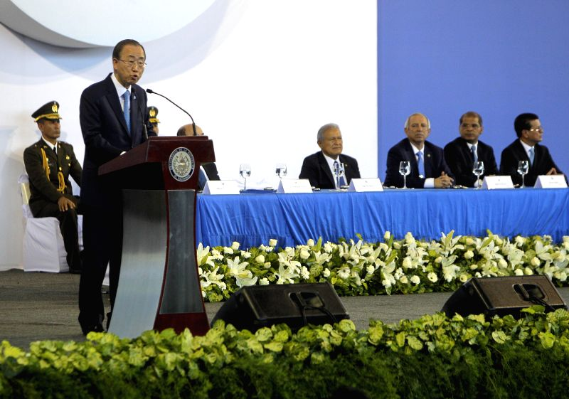 The Secretary-General of the United Nations (UN) Ban Ki-moon (L) delivers a speech during a commemoration of the 23rd Anniversary of the signing of the Peace ..