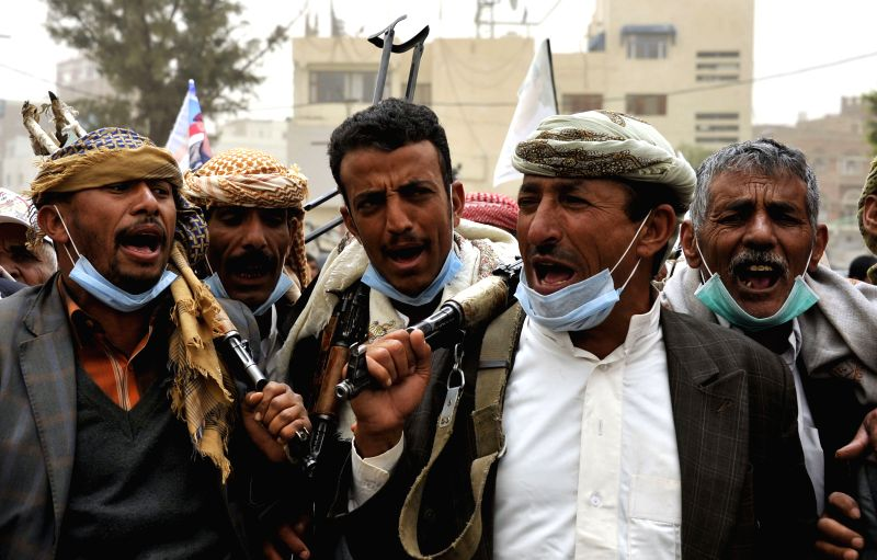 Yemenis rally to denounce the air strikes by the Saudi-led coalition forces in Sanaa, Yemen, on April 3, 2015. The Saudi-led coalition forces have conducted eight ...