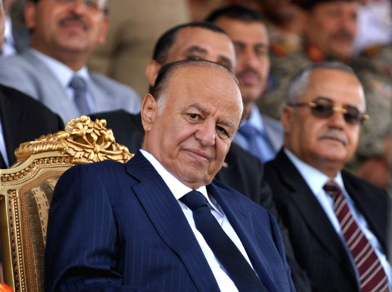 The file photo taken on May 22, 2012 shows Yemeni President Abd-Rabbu Mansour Hadi attending the military parade for the 22nd anniversary of the national day of ...