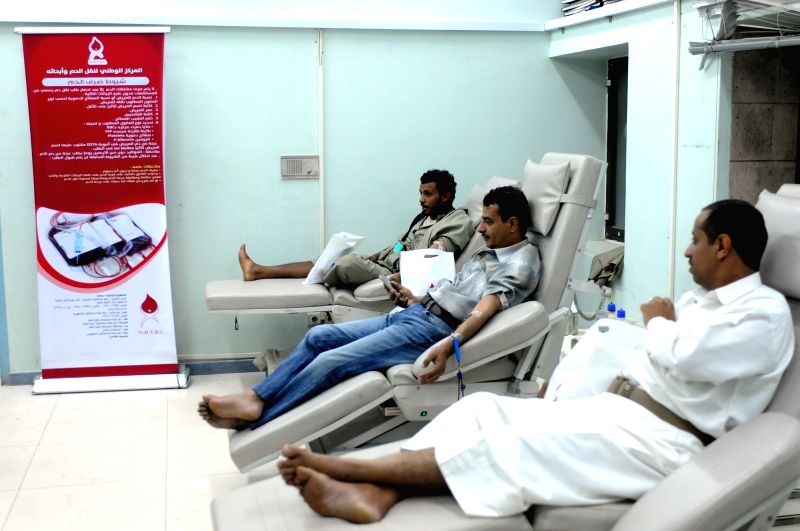 SANAA, June 13, 2018 - Yemeni men donate blood at a transfusion center in Sanaa, Yemen, on June 13, 2018. The local authorities called on Yemeni people to donate blood as hospitals may face shortage ...