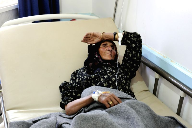 SANAA, June 8, 2017 - A cholera-infected woman gets treatment at the Sabaeen hospital in Sanaa, Yemen, on June 7, 2017. Cholera killed 43 Yemeni people in the past 24 hours, with the total suspected ...