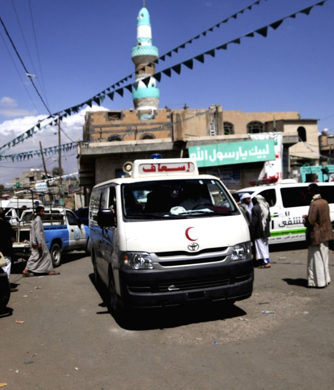 An ambulance arrives at a blast site in Sanaa, Yemen, March 20, 2015. A total of 88 people were killed and at least 100 others wounded on Friday in four bomb attacks ...