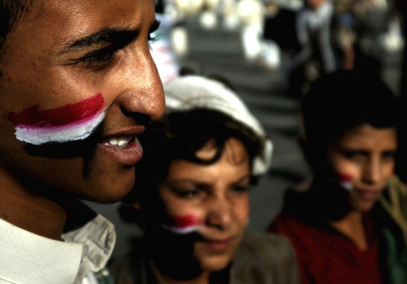 SANAA, May 21, 2017 - Yemeni protesters take part in an anti-U.S. protest in Sanaa, Yemen, on May 20, 2017. U.S. President Donald Trump Saturday began an official visit to Saudi Arabia.