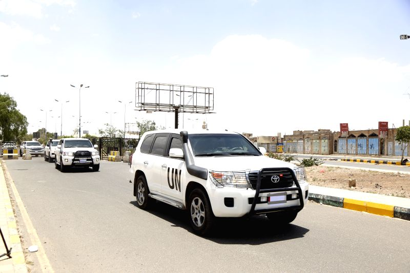 SANAA, May 5, 2019 (Xinhua) -- Convoy of the UN special envoy to Yemen Martin Griffiths leaves the Sanaa International Airport after the envoy arrives in Sanaa, Yemen, May 5, 2019. The UN Special Envoy to Yemen Martin Griffiths arrived in the capital