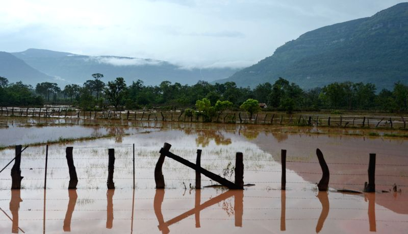SANAMXAY (LAOS), July 27, 2018 Photo taken on July 27, 2018 shows a flooded field after an under-construction dam collapsed in Sanamxay District, Attapeu Province, Laos. Six people were ...
