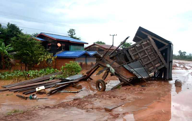 SANAMXAY (LAOS), July 27, 2018 Photo taken on July 27, 2018 shows a damaged house after an under-construction dam collapsed in Sanamxay District, Attapeu Province, Laos. Six people were ...