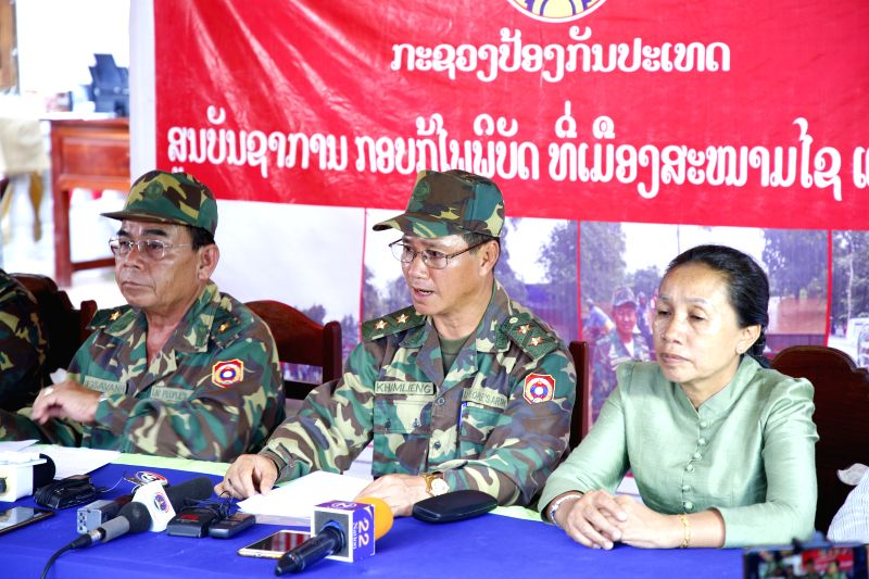 SANAMXAY (LAOS),  July 29, 2018  Khamlieng Outhakaisone(C), Deputy Director General of the General Staff Department (GSD) of the Lao People's Army, and also commander of the rescue ...