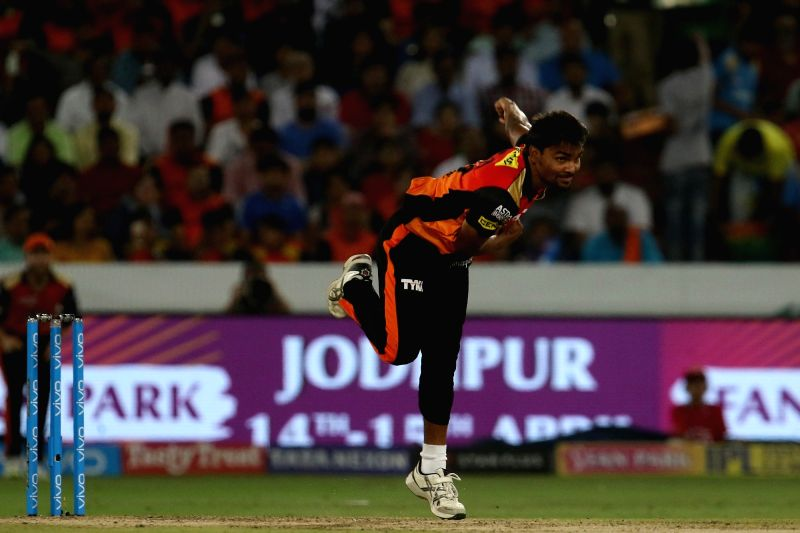 Sandeep Sharma of Sunrisers Hyderabad in action during an IPL 2018 match between Sunrisers Hyderabad and Mumbai Indians at Rajiv Gandhi International Cricket Stadium in Hyderabad on April ... - Sandeep Sharma