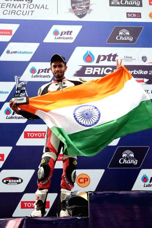Sandesh Prasannakumar on the podium at Thailand Superbike Championship.