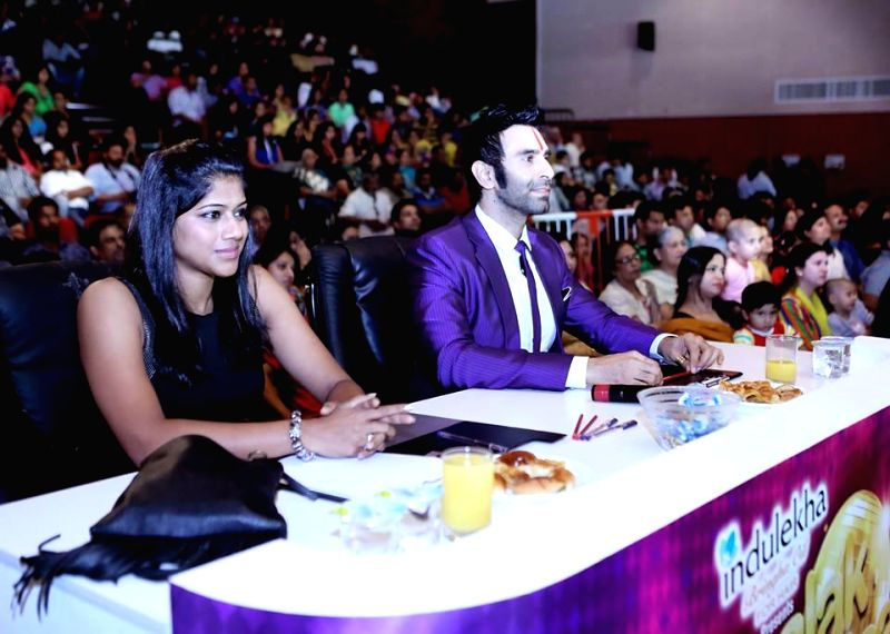 Sandip Soparrkar with other judge during `Jhalak Dikhhla Jaa UAE Season 3` grand finale at the Sheikh Rashid Auditorium, Indian High School in Dubai on June 24, 2014.