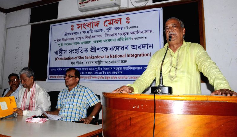 Sangkardeva Sanskritik Niyas vice president Sangkar Das addresses a press conference at Guwahati press club on July 10, 2014.