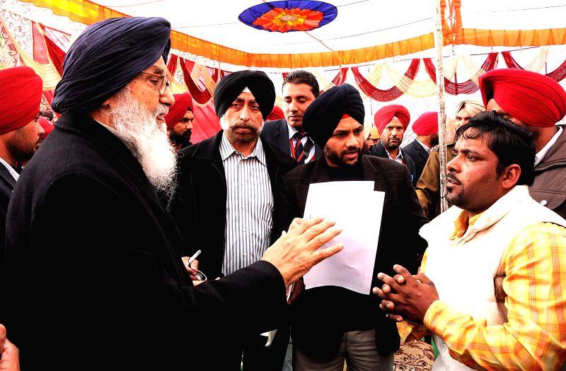 Punjab Chief Minister Parkash Singh Badal during a Sangat Darshan programme in Dhuri Assembly constituency, Sangrur, Punjab on Feb 6, 2015. - Parkash Singh Badal