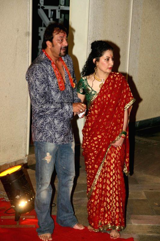 Sanjay Dutt and his wife Manyata Dutt at Mata Ki Chowki at ...